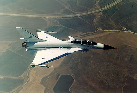 The Lavi -- an Israeli-developed fighter aircraft which never made it into production, to a great extent because of US pressure.