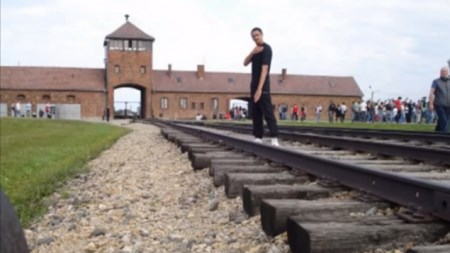 The quenelle at Auschwitz