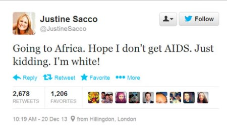 Justine Sacco's now-famous tweet.