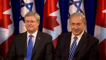 Canada's Prime Minister Stephen Harper with Israel's Netanyahu