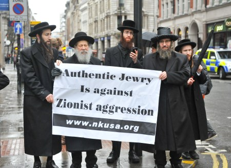 Neturei Karta members demonstrate in favor of Jew-hating Hungarian Jobbik party, January 28, 2014