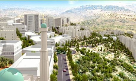 Artist's conception of how the new Palestinian city of Rawabi will look when finished